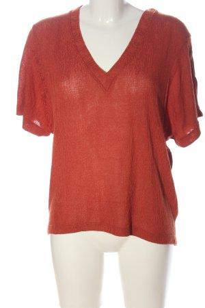 Zara V-Ausschnitt-Shirt rot Zopfmuster Casual-Look