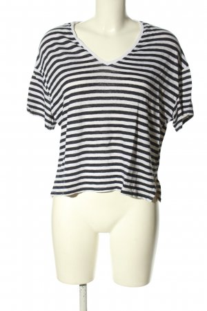 Zara V-Ausschnitt-Shirt schwarz-weiß Streifenmuster Casual-Look