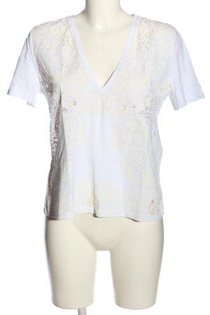 Zara V-Ausschnitt-Shirt weiß Casual-Look