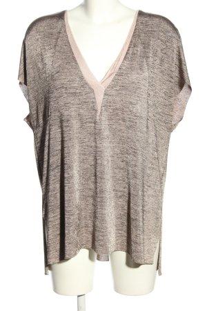 Zara V-Ausschnitt-Shirt hellgrau-schwarz meliert Casual-Look