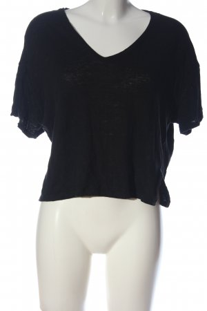 Zara V-Ausschnitt-Shirt schwarz Casual-Look