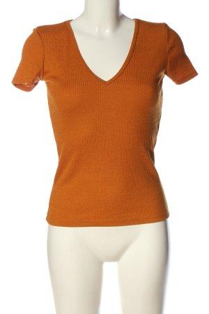 Zara T-shirt col en V orange clair style décontracté