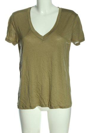 Zara V-Ausschnitt-Shirt khaki Casual-Look