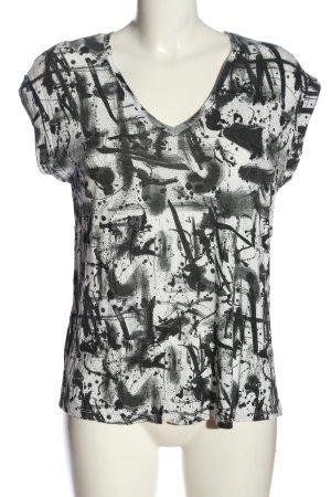 Zara V-Ausschnitt-Shirt weiß-schwarz abstraktes Muster Casual-Look