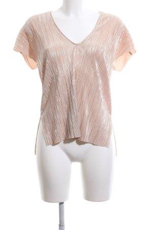 Zara V-Ausschnitt-Shirt nude Casual-Look