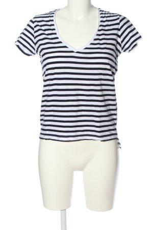 Zara V-Ausschnitt-Shirt weiß-blau Streifenmuster Casual-Look