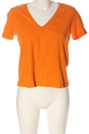Zara V-Ausschnitt-Shirt hellorange Casual-Look