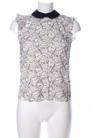 Zara Spitzenbluse creme-schwarz abstraktes Muster Casual-Look