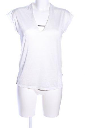 Zara T-shirt col en V blanc style d'affaires