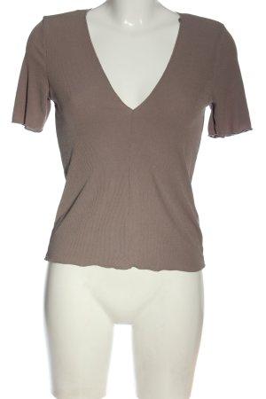 Zara V-Ausschnitt-Shirt braun Streifenmuster Casual-Look