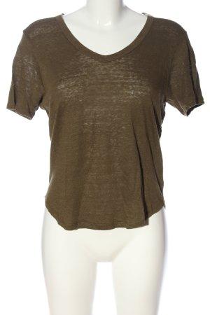 Zara V-Ausschnitt-Shirt braun Casual-Look