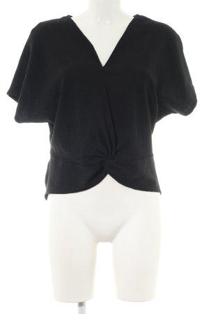 Zara V-Ausschnitt-Shirt schwarz Business-Look