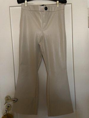 Zara vegane Lederhose Gr. L 40 beige high waist cropped Schlaghose