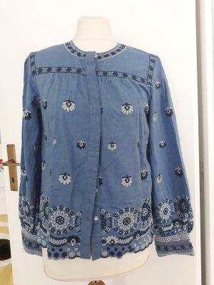 Zara Veste chemisier blanc-bleuet