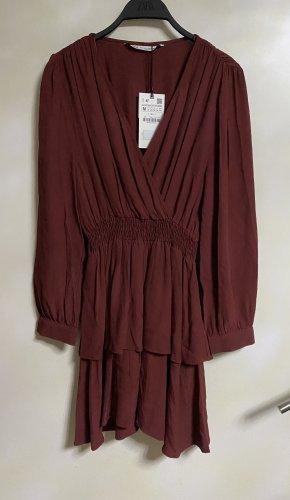 Zara Volant Kleid Mit V Ausschnitt Braun Rot Ziegelrot M 38 Neu