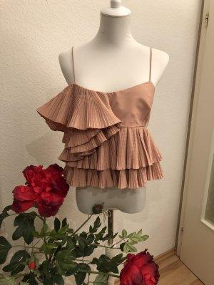 Zara Volant Rüschen Top in Nude rosa Neu ❤️