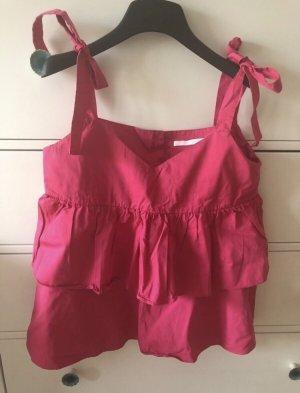 Zara Flounce Top pink-neon pink