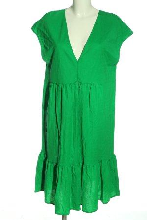 Zara Robe à volants vert style décontracté