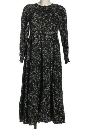 Zara Robe à volants noir-blanc motif abstrait style décontracté