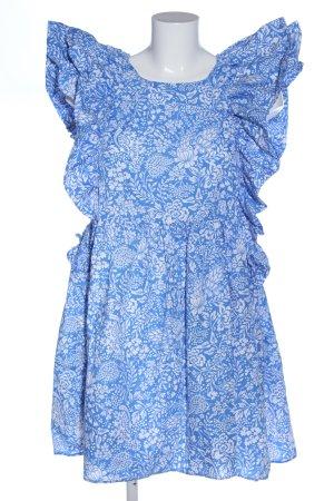 Zara Volantkleid blau-weiß Blumenmuster Casual-Look