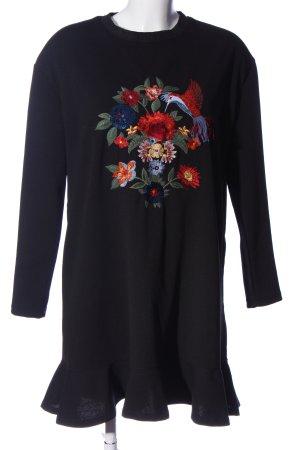 Zara Sukienka z falbanami czarny Nadruk z motywem W stylu casual