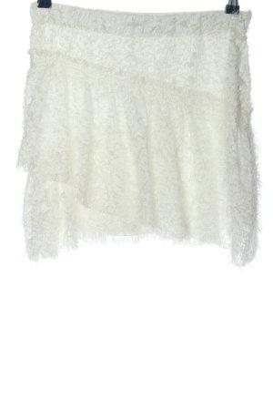 Zara Volanten rok wit grafisch patroon casual uitstraling