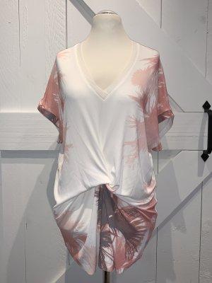 Zara W&B Collection Shirt, Gr. L, weiß/lachs