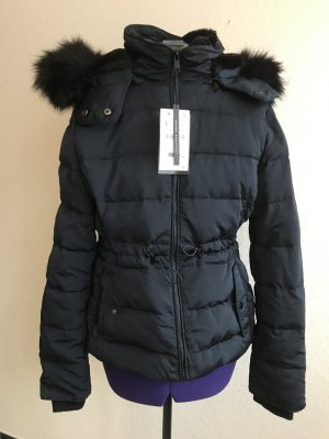 Zara wasserabweisende sehr warme Daunen-und Felljacke marineblau Gr. L neu mit Etikett