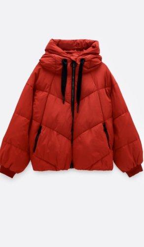 Zara Quilted Coat dark red