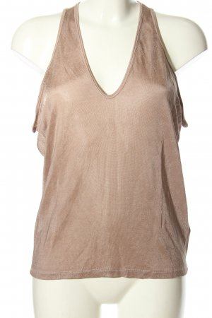 Zara Top tipo cascada marrón tejido mezclado