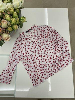 ZARA weiß rote Bluse mit Blumenmuster und bindbaren Ärmeln in S/36
