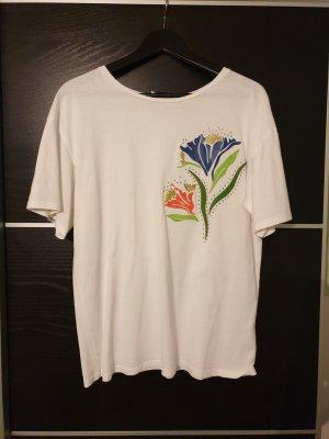 zara weiß S blumen blau grün oversize t-Shirt tshirt shirt top oberteil bluse hemd