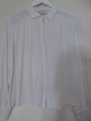 Zara weiße Bluse mit Stickerei