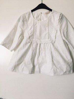 Zara weiße Bluse Top Shirt Stickereien