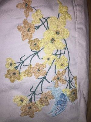 Zara weiße Jeans mit Blütenstickerei 44 (42) wie NEU romantische Impressionen