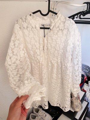Zara weißes transparentes Kleid mit Lochmuster Spitze und Unterrock