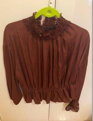 Zara weite Bluse elastische Spitze XL Viskose wie NEU romantische Impressionen