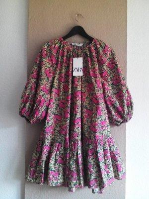 Zara weites Minikleid mit Blumenprint und Ballonärmeln, Größe 38, neu