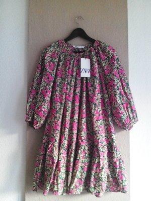 Zara weites Minikleid mit Blumenprint und Ballonärmeln, Größe 40, neu