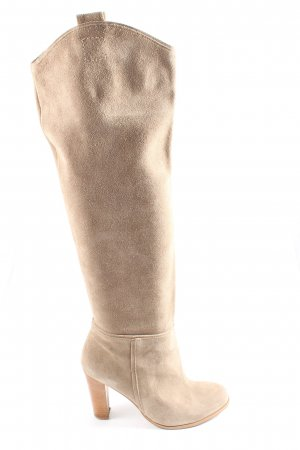 Zara Wide Calf Boots cream casual look