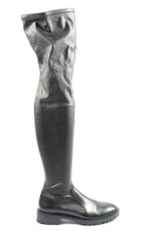 Zara Botas de pantorrilla ancha negro look casual