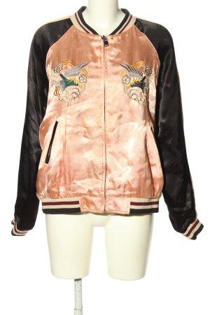 Zara Veste réversible rose-noir motif rayé style décontracté