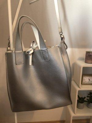 Zara Sac réversible argenté-blanc