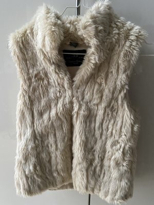 Zara Smanicato di pelliccia crema-bianco sporco