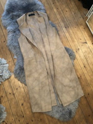 Zara Weste Gilet Mantel Hand Made Wolle Lana Nude Braun