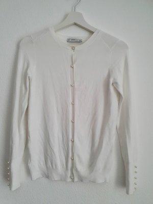 Zara Chaleco de punto blanco-crema