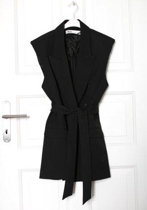 Zara Weste Sleeveless Blazer schwarz Schulterpolster Padded mit Gürtel 80er Look Gr. XS