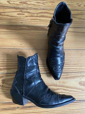 ZARA Western Cowboy Stiefel Stiefeletten Leder schwarz