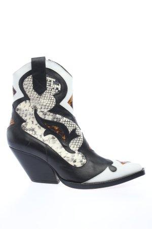 Zara Western-Stiefeletten schwarz-weiß Animalmuster extravaganter Stil
