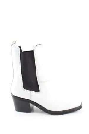 Zara Western-Stiefeletten weiß-schwarz Casual-Look